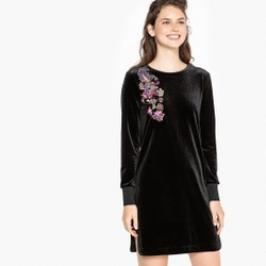Review Robe sweat en velours, détails broderie